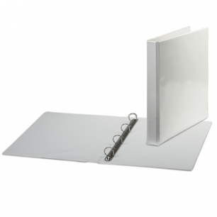Папка 4 кольца BRAUBERG обзорная, картон/ПВХ 35мм, белая, до 180листов (для составления каталогов)