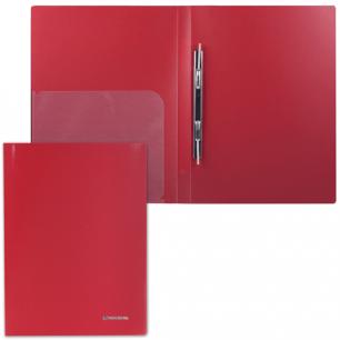 Папка с мет. скоросш. и внутр. карм. BRAUBERG Диагональ, т-красная, до 100 лист, 0,6мм, 221355