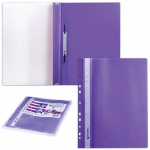 Скоросшиватели пластиковые с перфорацией BRAUBERG, КОМПЛЕКТ 10шт., фиолетовые, 223868