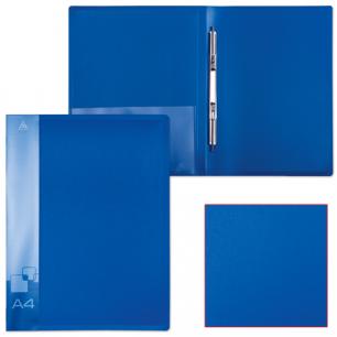 Папка с мет. скоросш. и внутр. карм. БЮРОКРАТ синяя, до 100 листов, 0,7мм, PZ07Pblue