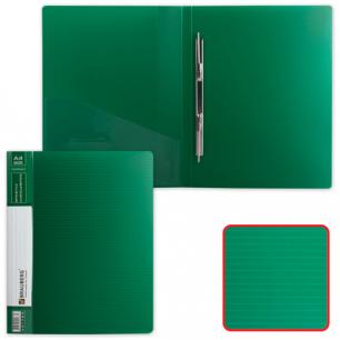 Папка с мет. скоросш. и внутр. карм. BRAUBERG Contract, зеленая, до 100 лист, 0,7мм, бизнес-класс