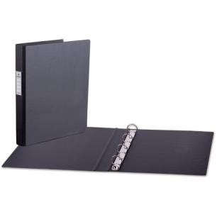Папка 4 кольца BRAUBERG, картон/ПВХ, 35мм, черная, до 180 листов (удвоенный срок службы)