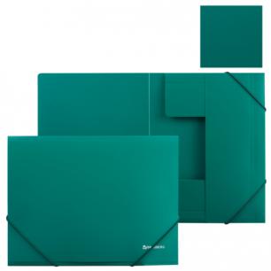 Папка на резинках BRAUBERG Стандарт, зеленая, до 300 листов, 0,5мм, 221621