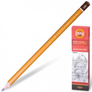 Карандаш ч/гр KOH-I-NOOR 1500 HB, корпус желтый, без резинки, заточенный, картонная упаковка