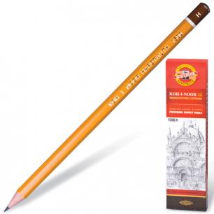 Карандаш ч/гр KOH-I-NOOR 1500 H, корпус желтый, без резинки, заточенный, картонная упаковка