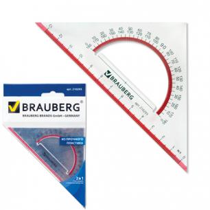 """Треугольник BRAUBERG """"Сrystal"""", с транспортиром 45*13см прозрач. с выдел. шкалой, европодвес, 210293"""