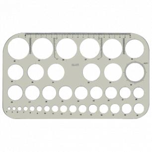 """Трафарет KOH-I-NOOR """"Шаблоны диаметров"""", тонированный, упаковка с европодвесом, 074916100000"""