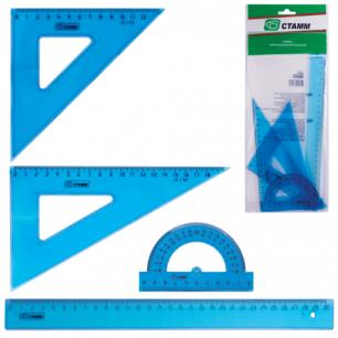 Набор чертежный большой СТАММ (линейка 30см, треуг-к 2шт., трансп-р), прозрачный, европодвес, НГ05