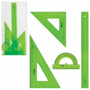 Набор чертежный СТАММ большой (линейка 30 см, треугольник 2 шт, транспортир), тонированный, НГ16
