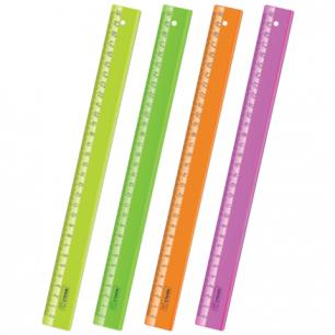 "Линейка СТАММ ""Neon Cristal"", 30см, прозрачная, неон. ассорти, ЛН32"