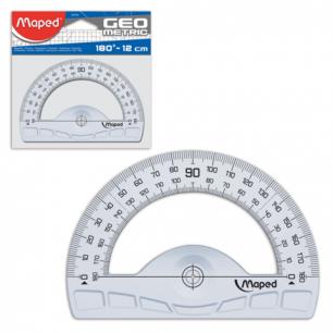 "Транспортир MAPED (Франция)  ""Geometric"", 12 см, 180 градусов, прозрачный, европодвес, 242180"