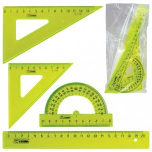 """Набор чертежный средний СТАММ """"Neon Cristal"""", (линейка 20см, треуг-к 2шт., транс-р), европод., НГ04"""