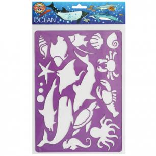 "Трафарет KOH-I-NOOR ""Ocean"" с изобр.обитателей океана, 315x200 мм, упак с европодвесом, 9820003001PS"