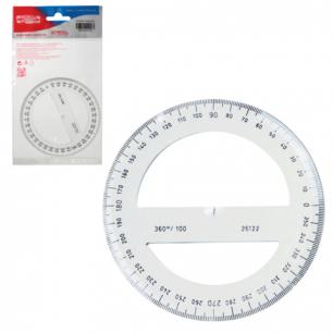 Транспортир KOH-I-NOOR 100 мм, 360 градусов, пластиковый, прозрачный, упак. с европодв, 074627800000