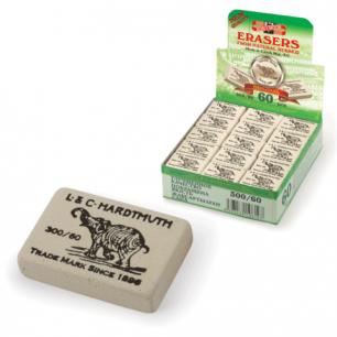 Резинка стирательная KOH-I-NOOR прямоугольная, 31х21х8 мм, белая, картонный дисплей, 300/60