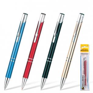 "Ручка шариковая BRAUBERG бизнес-класса ""Win"", корпус ассорти, серебр. детали, 1мм, 141434, синяя"