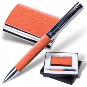 """Набор GALANT """"Prestige Collection"""": ручка, визитница, оранжевый """"фактурная кожа"""", подар.кор., 141375"""