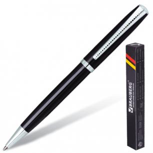 """Ручка шариковая BRAUBERG бизнес-класса """"Cayman Black"""", корп. черный, серебр. детали, 141410, синяя"""