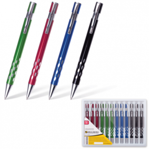 "Ручка шариковая BRAUBERG бизнес-класса ""State"" корпус ассорти, серебр. детали, 1мм, 141431, синяя"