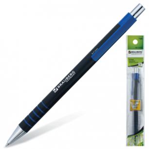 """Ручка шариковая BRAUBERG автомат. """"Capital+"""", корпус черный, толщ.письма 0,7мм, подвес, 141302, син"""