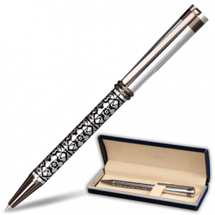 "Ручка шариковая GALANT ""Locarno"", подарочн., корп. серебрист./черн., хромир. детали, 141667,син"