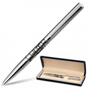 """Ручка шариковая GALANT """"Basel"""", подарочная, корп. серебристый/черный, хромир. детали, 141665,син"""