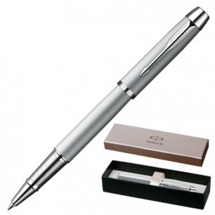 Ручка роллер PARKER IM Silver Lacquer CT корпус серый, латунь, лак, хромир. детали, S0856370, чер