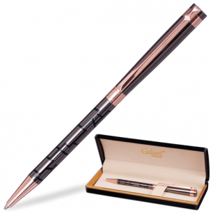 """Ручка шариковая GALANT """"Vitznau"""", подарочная, корп. серый, золотистые детали, 141664, синяя"""
