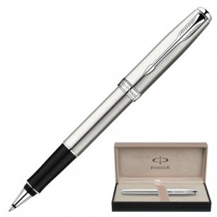 Ручка роллер PARKER Sonnet Stainless Steel CT корпус нержавеющая сталь, хромир. детали, S0809230, чер