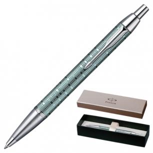 Ручка шариковая PARKER IM Premium Vacumatic Emerald Pearl CT корпус аллюминий, хром детал, 1906733,син