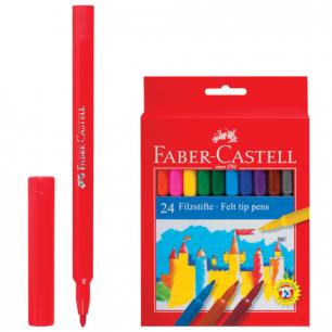 """Фломастеры FABER-CASTELL """"Замок"""", 24 цв., смываемые, в картонной коробке, европодвес, 554224"""