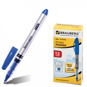 "Ручка роллер BRAUBERG ""Control"", корпус серебристый, толщ.письма 0,5мм, 141554, синяя"