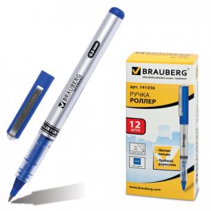 Ручка роллер BRAUBERG RLP002, корпус серый, синие детали, толщ.письма 0,5 мм, 141556, синяя