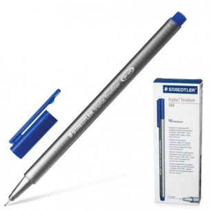 """Ручка капиллярная STAEDTLER (Штедлер, Германия)  """"Triplus"""", трехгранная, толщ.письма 0,3мм, синяя, 334-3"""