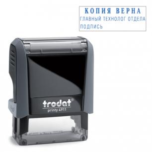 Оснастка для штампа оттиск 38*14мм синий, TRODAT 4911 P4, подушка в комплекте, корпус черный