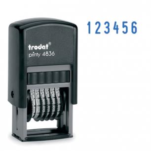 Нумератор 6-разр, оттиск 15*3,8мм синий, TRODAT 4836, корпус черный