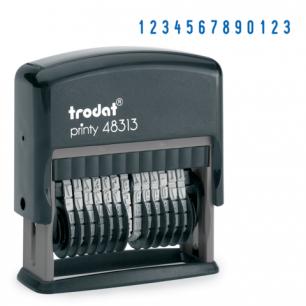 Нумератор 13-разр, оттиск 42*3,8мм синий, TRODAT 48313, корпус черный