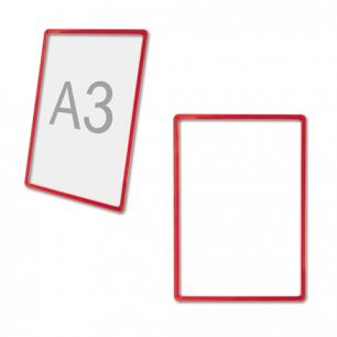 Рамка POS для ценников, рекламы и объявлений А3, КРАСНАЯ, без защитного экрана, 290256