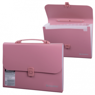 Портфель пластиковый BRAUBERG, А4, 327*254*30мм, стандарт. фактура, 13 отд, пласт.индекс, роз, 221441
