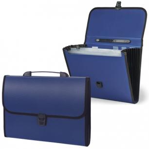 Портфель пласт. STAFF эконом, 6 отд., с окантовкой, синий