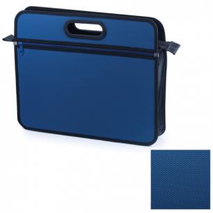 Сумка пластиковая BRAUBERG А4+, 390*315*70 мм, на молнии, внешний карман, фактура бисер, син, 225167