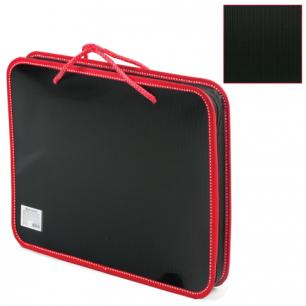 Папка на молнии пластиковая с ручками BRAUBERG Contract, А4 350*270*45 мм, черно/красная, 225164