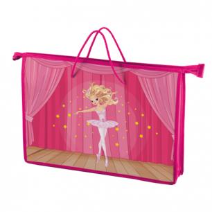 Папка-сумка BRAUBERG на молнии с веревочными ручками А4, пластик, дев., Балерина, 225504