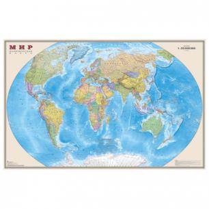 """Карта настенная """"Мир. Полит. карта"""", М-1:20млн, размер 156*101см, ламинир., 634"""