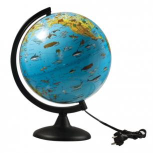 Глобус зоогеографический, диаметр 250 мм, с подсветкой (Россия), 10370