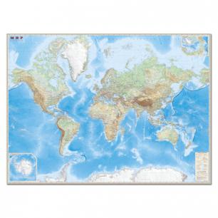 """Карта настенная """"Мир. Обзорная карта. Физ. с границами"""", М-1:15млн, размер 192*140см, ламин, 632"""