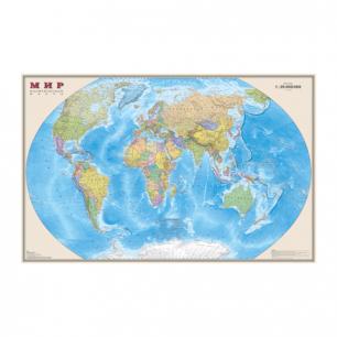 """Карта настенная """"Мир. Полит. карта"""", М-1:25млн, размер 122*79см, ламинир., 636"""
