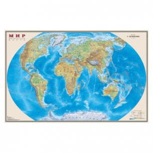 """Карта настенная """"Мир. Физ. карта"""", М-1:25млн, размер 122*79см, ламинир., 640"""