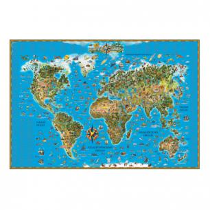 """Карта настенная для детей """"Мир"""", размер 116*79см, ламинир., 629"""