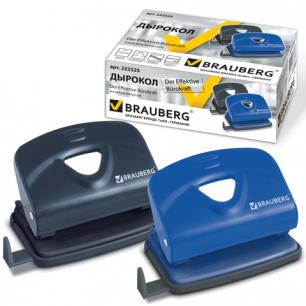 """Дырокол BRAUBERG """"Partner"""", металлический средний, на 20 листов, ассорти (синий /черный), 222525"""